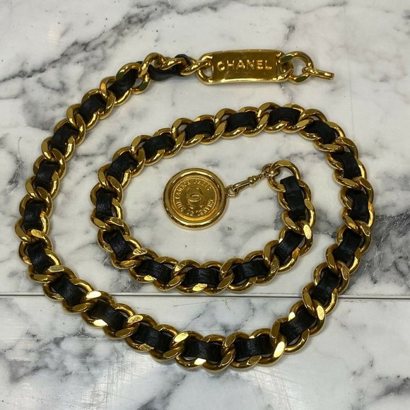 CHANEL Vintage Gold-Plated ID Logo Chain Belt
